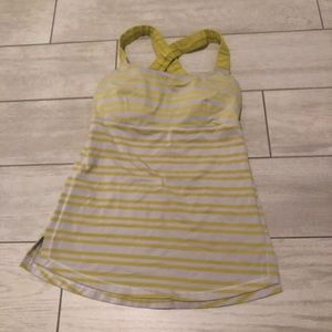 Lululemon yellow striped tank top